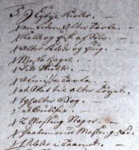 inventar Ejby kirke 1784